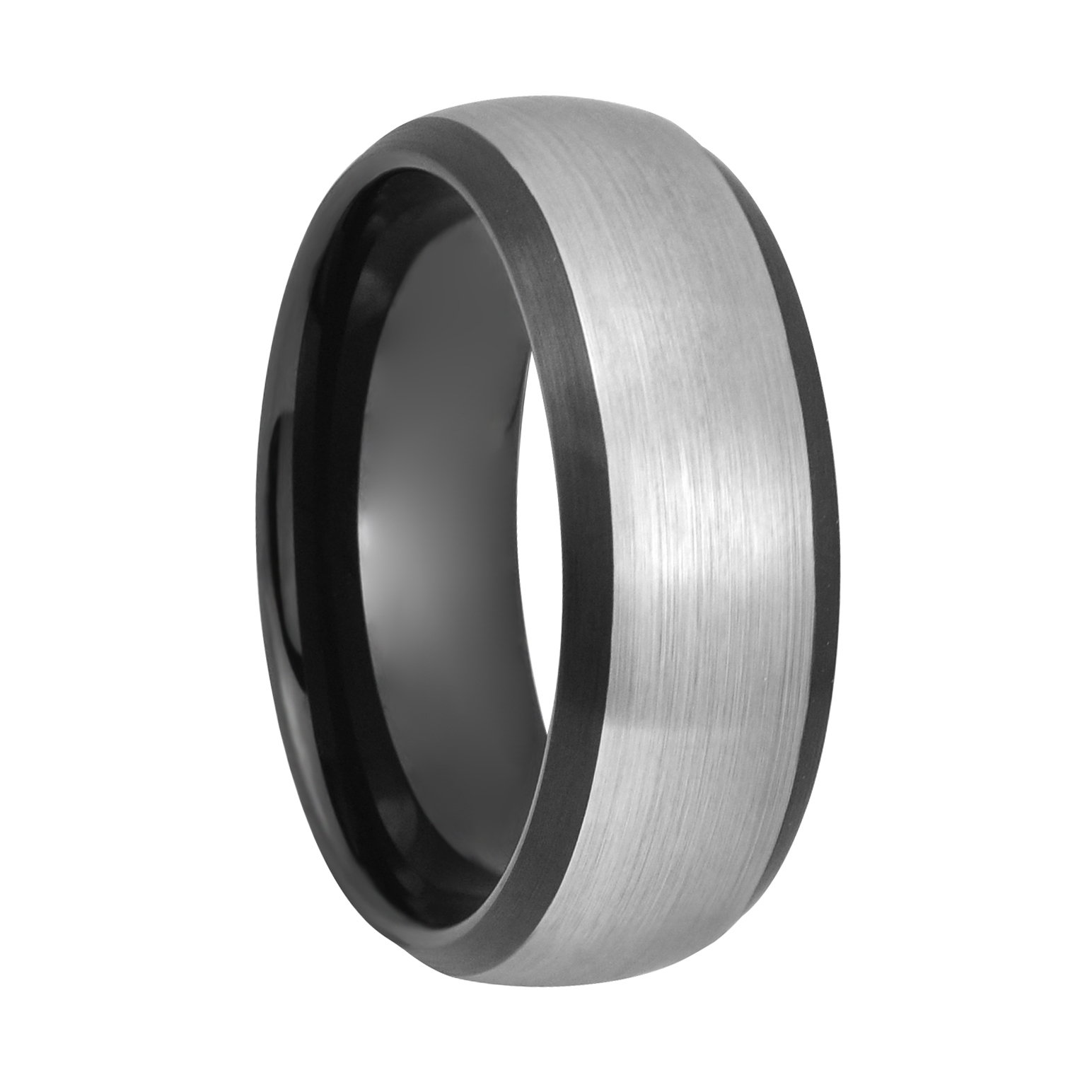This is a photo of Elliott 42mm Brushed Tungsten Two Tone Enameled Wedding Band Ring