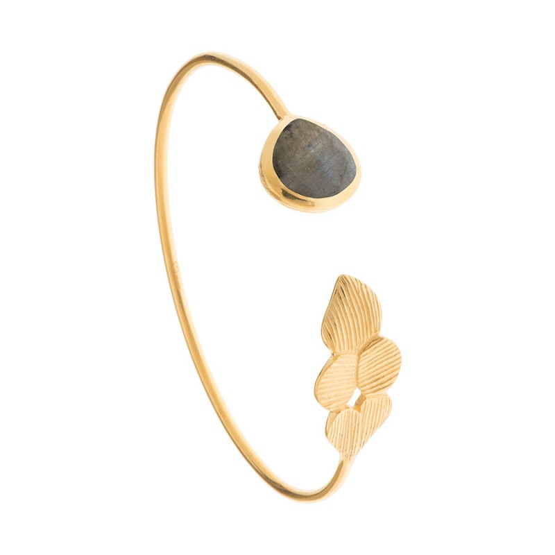 Olena Labradorite Gemstone Gold Adjustable Bangle